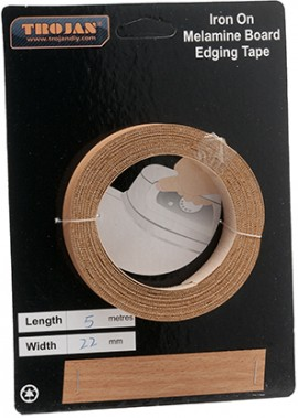 Iron on Melamine Edging Tape 22mm x 5m Beech (Pre-Glued)