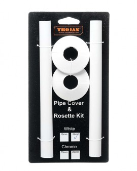 Trojan Pipe Cover & Rosette Kit 22mm White (Prepacked 2)