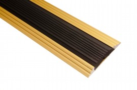 Trojan Anti Slip Rubber/Gold Coverstrip 1m