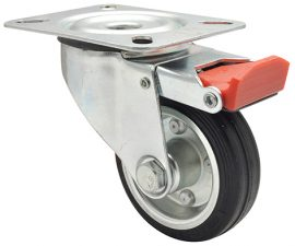 Wagner TRANSPORT BRAKE CASTOR D80mm,rubber,steel,RB,50kg(04 7184 01)