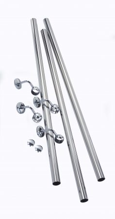 Rothley Handrail Kit: Brushed Nickel 40mm Diameter Handrail 3.6m